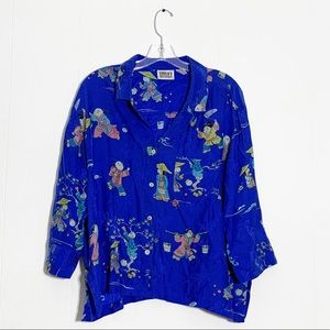 Chico's Asian Button Down 100% Silk Blouse Top